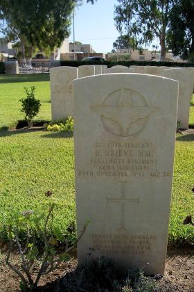 Headstone of Sgt D Grieve, Enfidaville War Cemetery, 2008.
