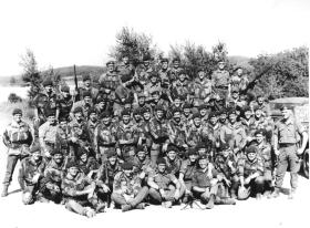 Group photo of 16 Lincoln Company on summer camp in Vogelsang Germany, 1975