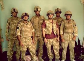 Group photo of 3 PARA soldiers in Cpl Bryan Budd's section, Afghanistan, 2006