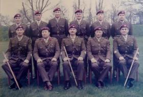 Group photograph of the Annual Convention of Parachute Regiment RSMs, 21 April 1978