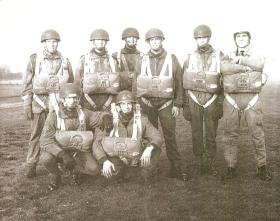 Group photo of Parachute Squadron RAC soldiers after their jump course, c.mid 1960s