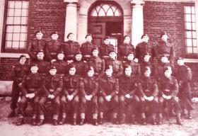 Group photo of paratroopers, possibly a Platoon of Battalion HQ, 9th Essex Parachute Battalion, 1940s