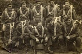 Group photograph of a parachute training stick, c.1940s