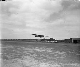 A Hadrian Mk I glider landing at Prestwick, World War II