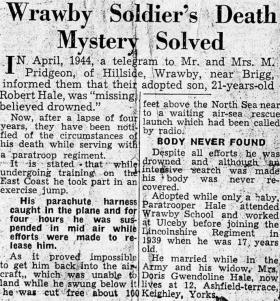 An account of Private Hales' death, c1948.