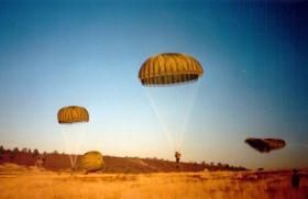 Parachute drop onto Hankley Common Drop Zone, 1988.