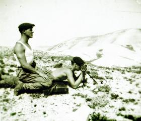 Harry Greenhalgh with range finder, Cyprus 1956.