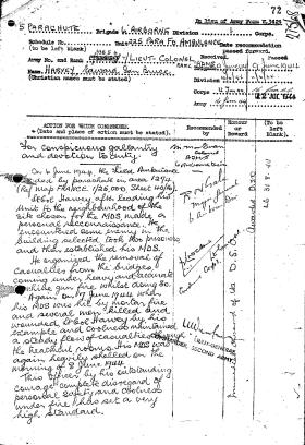 Citation for DSO awarded to Lt Col Bruce Harvey, Normandy 1944.