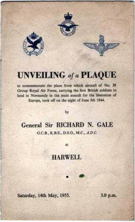 Programme for the unveiling of a commemorative plaque at Harwell, 1955