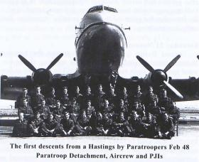 Paratroop Detachment, Aircrew and PJIs assembled for the 1st descent from a Hastings, AFEE, Feb 1948.
