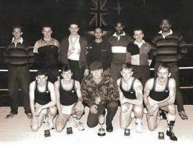 Headquarters Company, 3 PARA, Novices boxing team, Palace Barracks, c1990.
