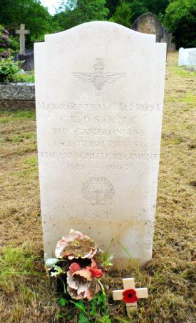 Headstone of Maj Gen Frost, Milland Cemetery.
