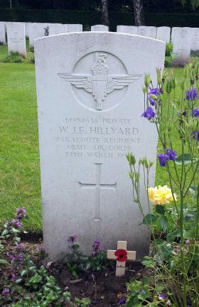Headstone of Private W Hillyard  Reichswald Forest War Cemetery, 2014.