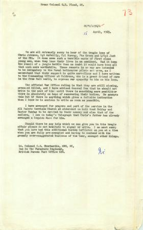 Regimental correspondence relating to casualties of a helicopter crash in Borneo, 1965.