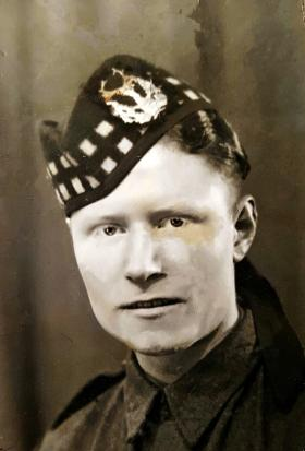 Private H Quinn, the Gordon Highlanders, c1942.