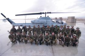 2 PARA Small Strike Team with American Forces in front of a US Marine Corps Cobra Op Herrick XIII