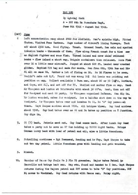 Transcript of war diary kept by CSM Cook, A Company, 8th Para Bn, Normandy, 1944.