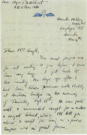 Letter by Tony Hibbert on return from being taken prisoner on Arnhem Bridge.