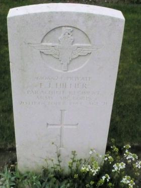Headstone of Pte FJ Hillier, Reichswald Forest War Cemetery, 2010.