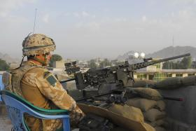 Soldier from 3 PARA at .50 Cal Heavy Machine Gun position, Kandahar, Afghanistan, 2008