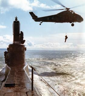 Members of Guards Parachute Company landing on HMSS Tiptoe in the English Channel 1968