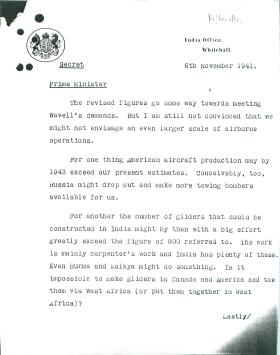 Copy of letter from Colonel Hollis to Churchill about gliders. Dated November 6th 1941.