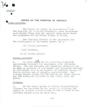 Copy of letter from Colonel Hollis to Churchill about programme for airborne troops in India. November 4th 1941.