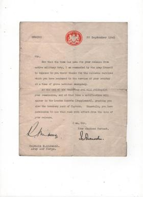 Letter conferring honorary rank of Captain to Bob Midwood, 1945.