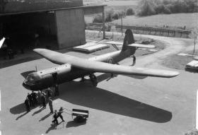 A Horsa glider at RAF Brize Norton, undated.