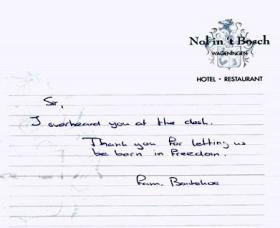 Thank you note given to Zdzislaw in Summer 2007 by another guest in a Dutch Hotel