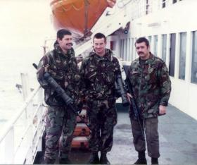 Three members of HQ Coy 2 PARA on the MV Norland, heading for the Falkland Campaign, 1982.