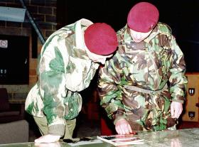 HRH The Prince of Wales and Greg Allen, 1 PARA, just prior to going to Kosovo, 1999.
