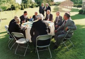 Airborne Forces veterans with HRH Prince of Wales at Highgrove, 1990s