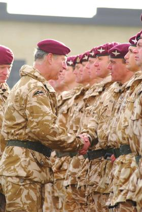 His Royal Highness The Prince of Wales during a medal ceremony at Merville Barracks in December 2008