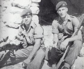 Alfie Holland and Hugh Grant guarding an EOKA hide in Kyrenia, 1958.