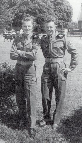 Hugh Grant and Arthur Liles celebrating passing Recruit Company, September 1957.