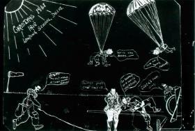 Christmas card from Air Landing School, Delhi, 1941. Shows cartoon figures parachuting.