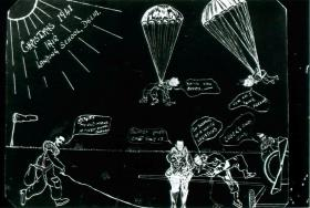 Christmas card from Air Landing School, Delhi, 1941. Shows cartoon figures parachuting.