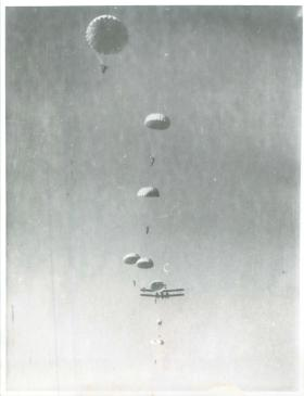 A complete stick of training Indian parachutists having exited a Valencia, New Dehli, 1941