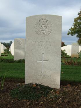 Headstone of Cpl H Rowbotham, Ranville War Cemetery, October 2014.