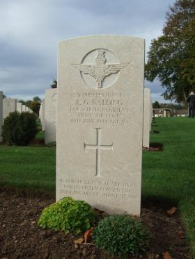 Headstone of Sgt L Balding, Ranville Cemetery, October 2014.