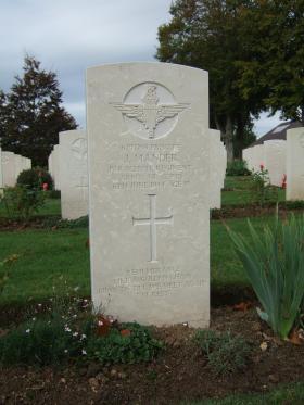 Headstone of Pte J Mander, Ranville War Cemetery, taken October 2014.