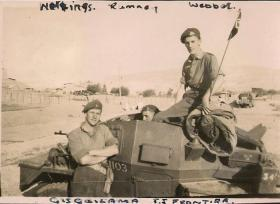 Members of 3rd, The King's Own Hussars on a Daimler Dingo on the Trans Jordan Frontier, date unknown.
