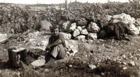 Fusilier Ibbetson at an outpost in Palestine, c1946.