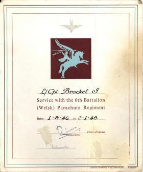 L/Cpl Brocket Certificate of Service
