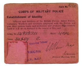 L/Cpl Bixby, Corps of Military Police 'Establishment of Identity Card' dated 1946.