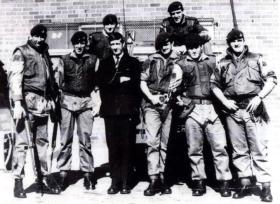 Group photo taken outside The Henry Taggart Hall, Ballymurphy in 1971.