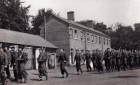 B Coy 3 PARA leaving Waterloo Barrracks Aldershot for Cyprus Operation 'TRIMED' 1951