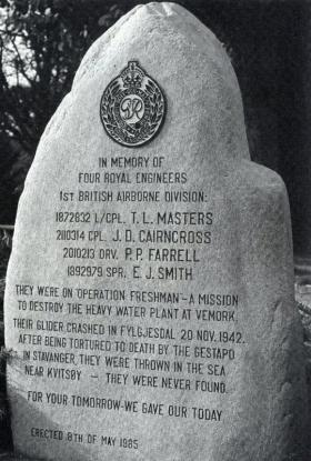 Memorial to four Freshman fatalities with no known grave erected by Per Johnsen and Peter Yeates