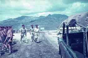 Maj Gen Cubbon visiting D Coy 1 Para Radfan, circa 1965